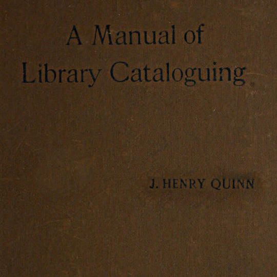 Manual of Library Cataloguing
