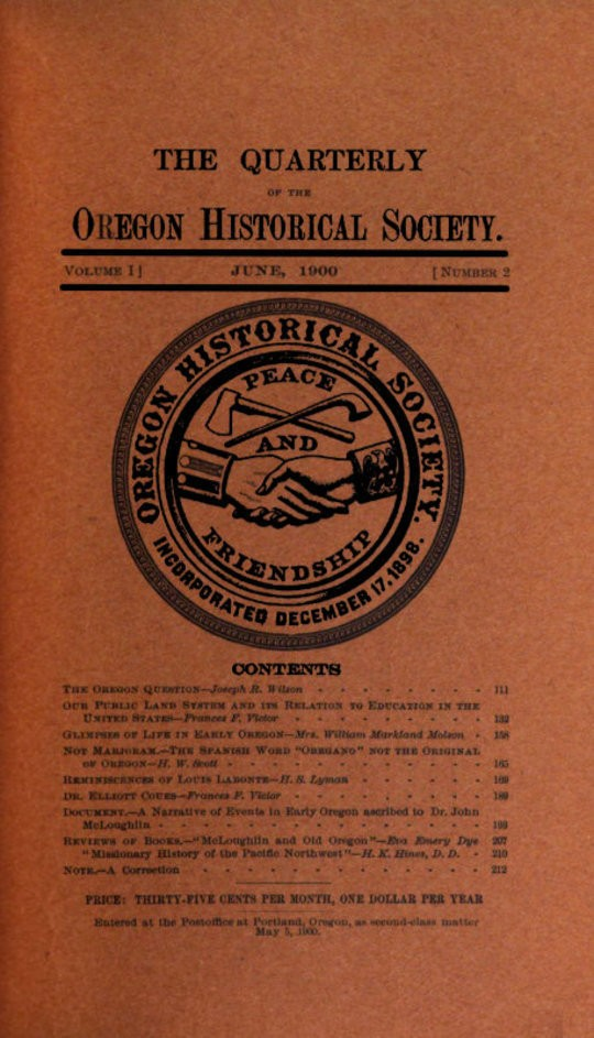 The Quarterly of the Oregon Historical Society (Vol. I, No. 2)