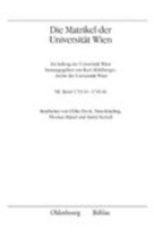 I. Abteilung: Die Matrikel der Universität Wien
