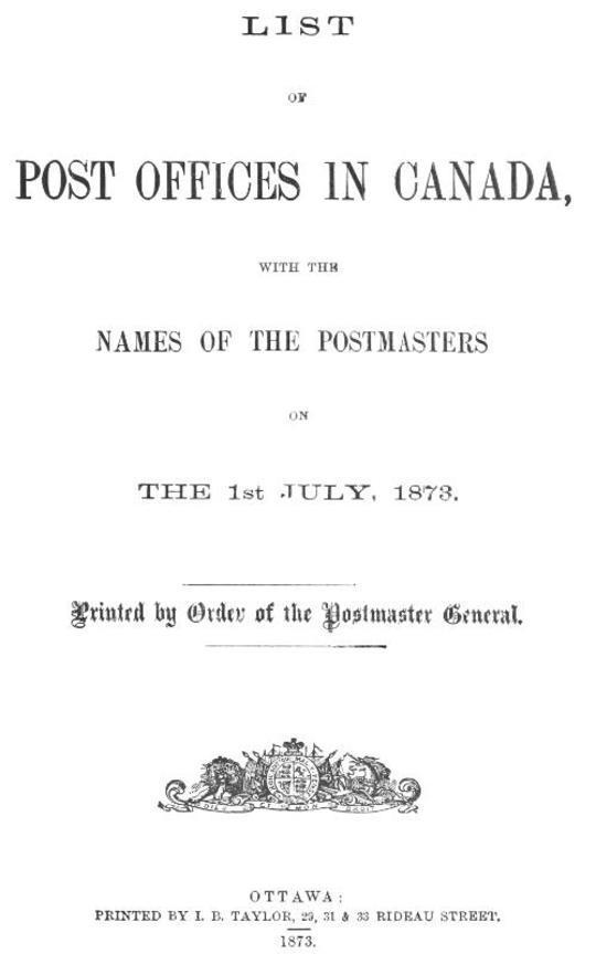 List of Post Offices in Canada 1873