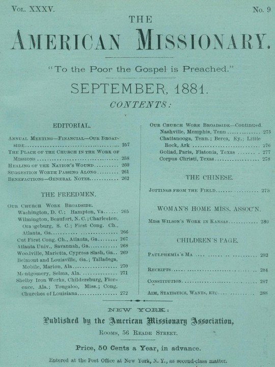 The American Missionary — Volume 35, No. 9, September, 1881