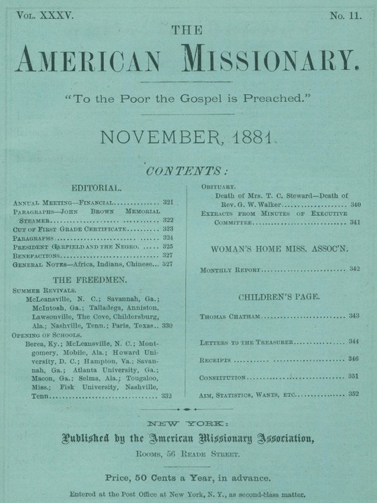 The American Missionary — Volume 35, No. 11, November, 1881