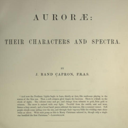 Auroræ: Their Characters and Spectra