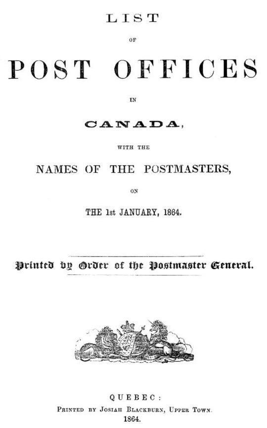 List of Post Offices in Canada 1864