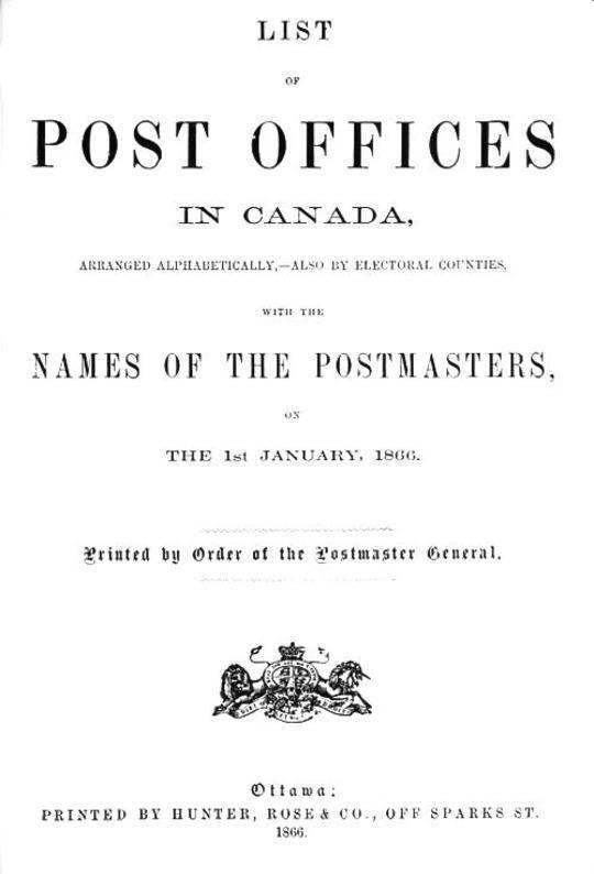List of Post Offices in Canada 1866