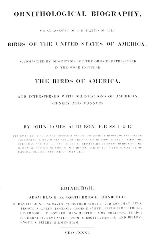 Ornithological Biography, Volume 1 (of 5) An Account of the Habits of the Birds of the United States of America
