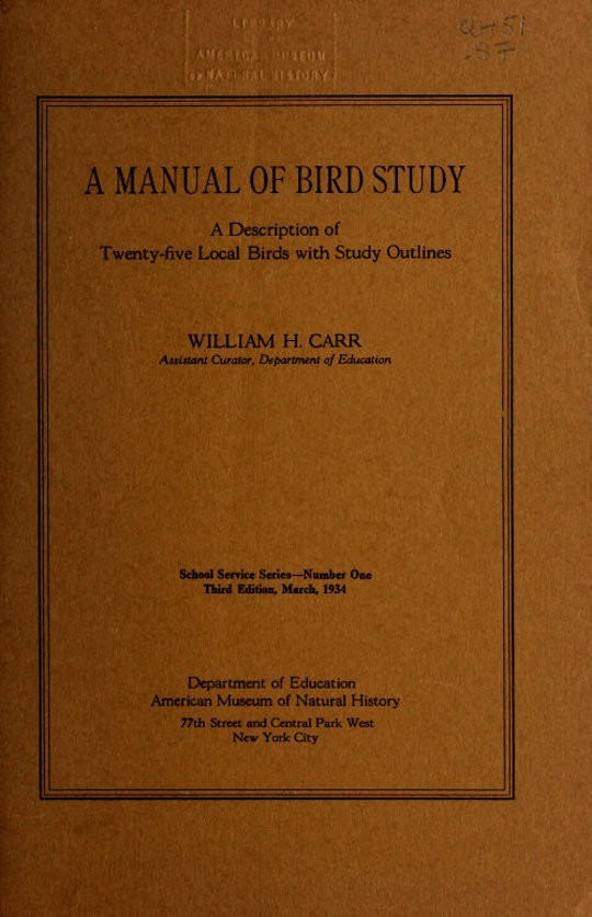 A Manual of Bird Study A Description of Twenty-Five Local Birds with Study Options