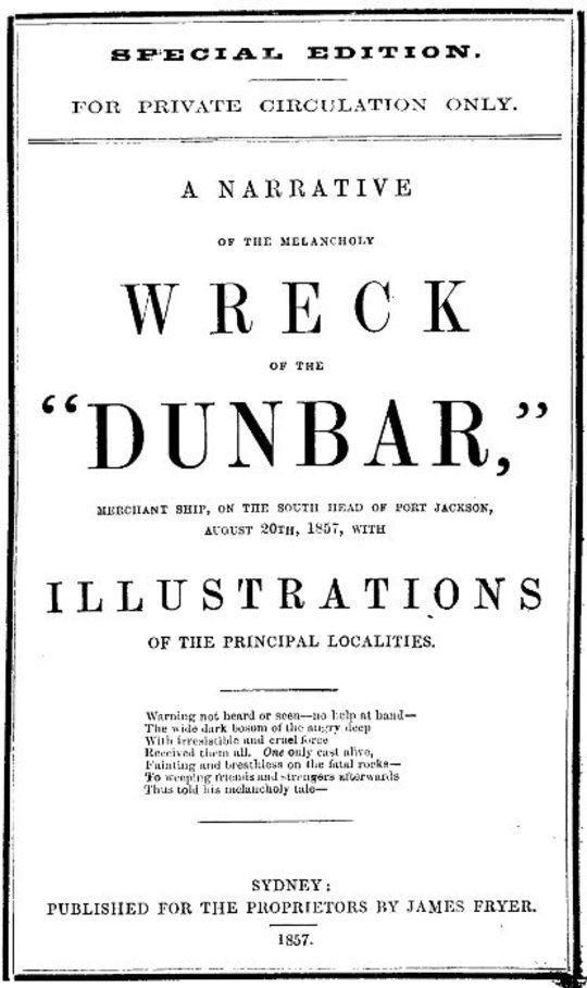 """A Narrative of the Melancholy Wreck of the """"Dunbar"""""""
