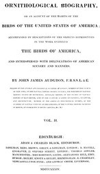 Ornithological Biography, Volume 2 (of 5) An Account of the Habits of the Birds of the United States of America