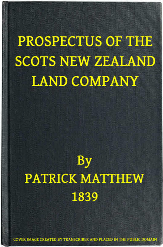 Prospectus of the Scots New Zealand Land Company