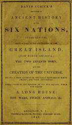 David Cusick's Sketches of Ancient History of the Six Nations Comprising First—A Tale of the Foundation of the Great Island, (Now North America), The Two Infants Born, and the Creation of the Universe. Second—A Real Account of the Early Settlers of north America, and Their Dissensions. Third—Origin of the Kingdom of the Five Nations, Which Was Called a Long House: the Wars, Fierce Animals, &c.