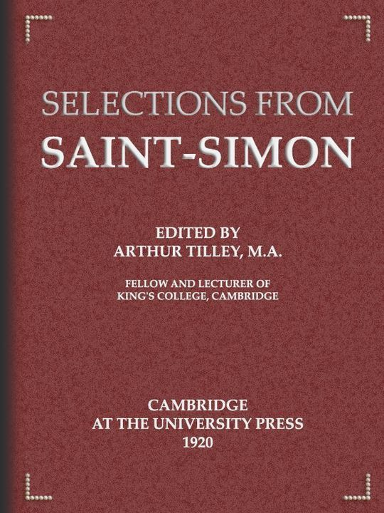Selections from Saint-Simon
