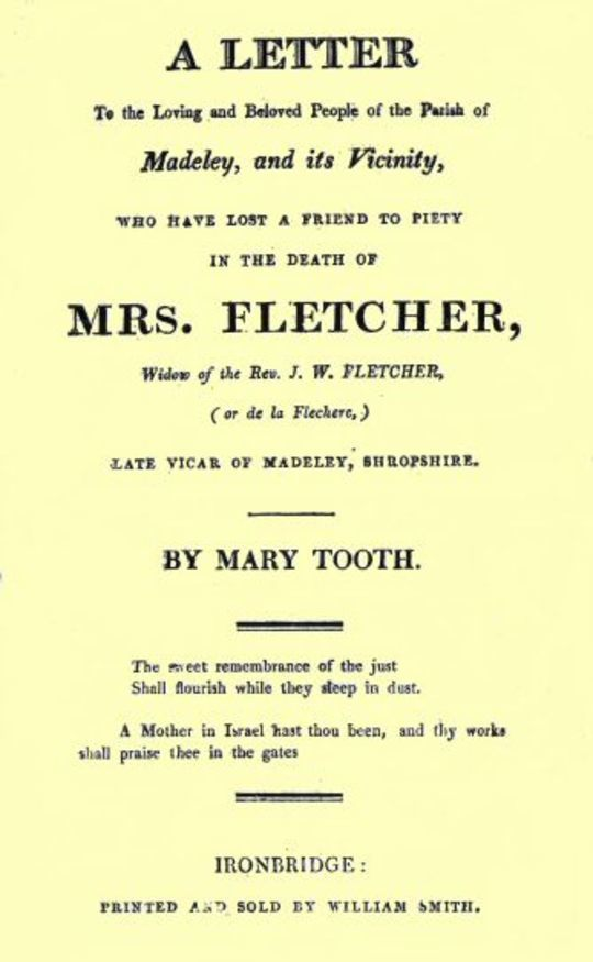 A Letter ... the Death of Mrs. Fletcher