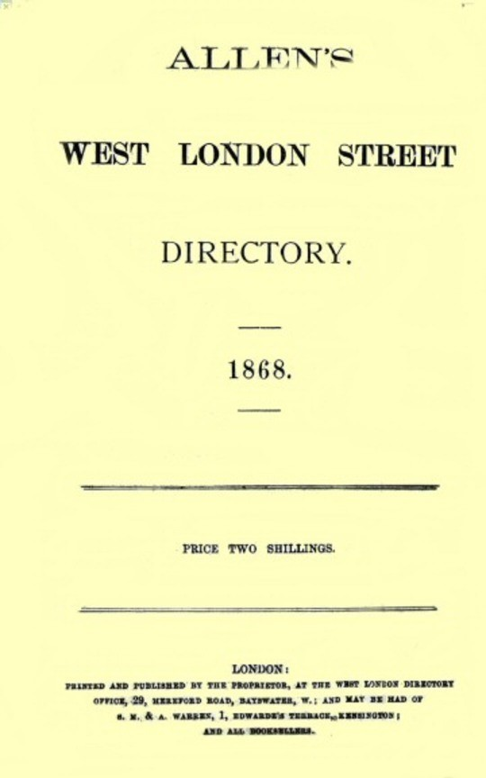 Allen's West London Street Directory, 1868