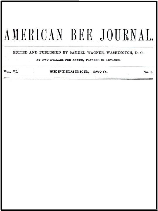 The American Bee Journal, Volume VI, Number 3, September 1873