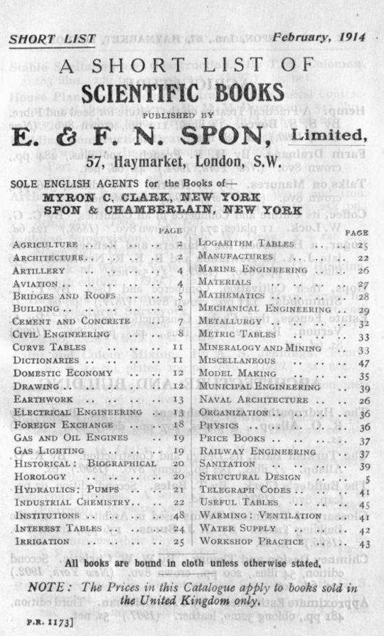 A Short List of Scientific Books by E. & F. N. Spon. February 1914