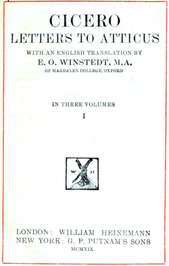 Cicero Letters to Atticus, v. I