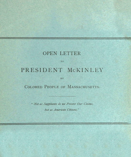 Open Letter to President McKinley by Colored People of Massachusetts