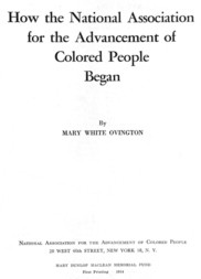 How the National Association for the Advancement of Colored People Began