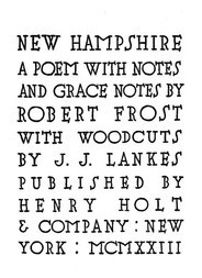 New Hampshire A Poem with Notes and Grace Notes
