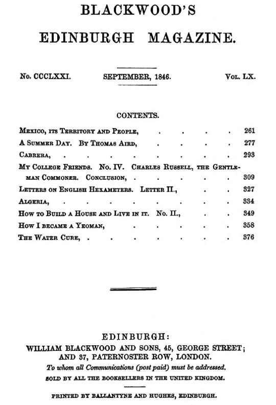 Blackwood's Edinburgh Magazine, Volume 60, Number 371, September 1846
