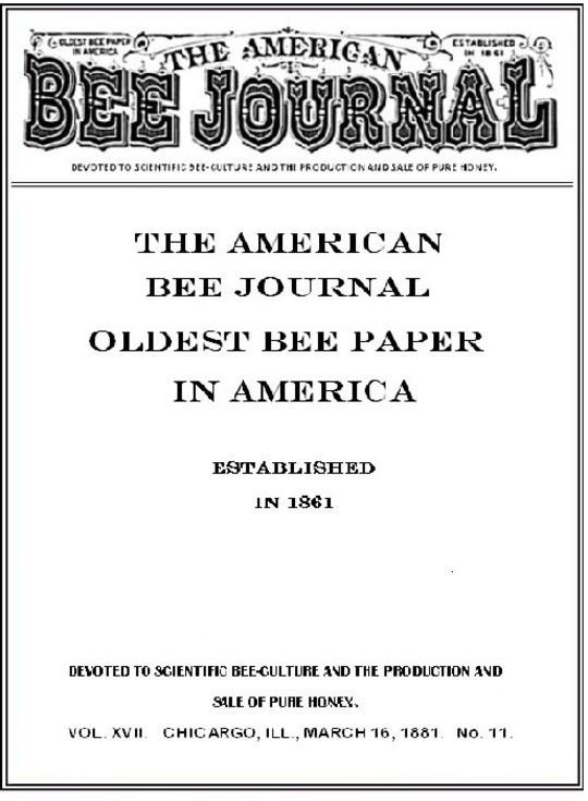 The American Bee Journal Volume XVII No. 11.