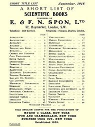 A Short List of Scientific Books Published by E. & F. N. Spon, Ltd. September 1915