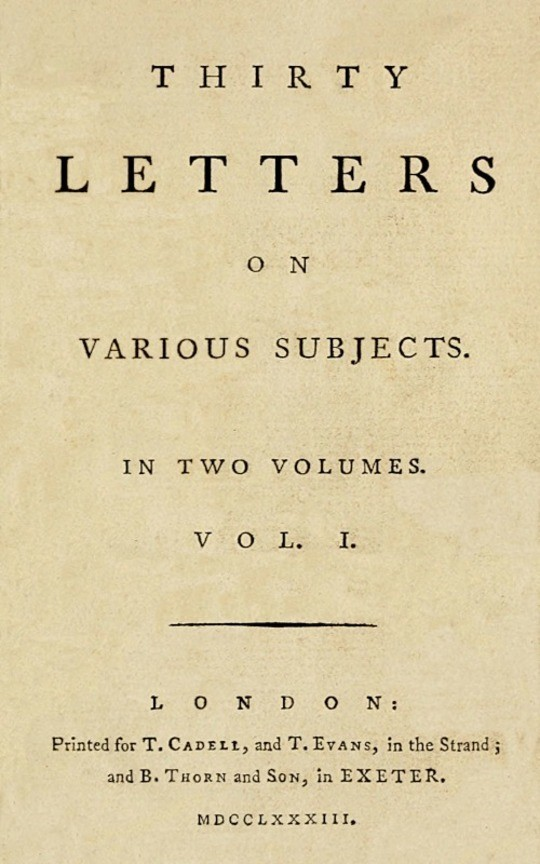 Thirty Letters on Various Subjects, Vol. I (of 2)