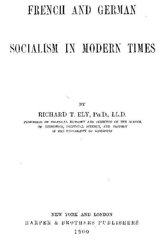 French and German Socialism in Modern Times