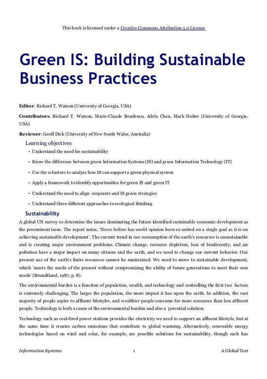 Green IS: Building Sustainable Business Practices