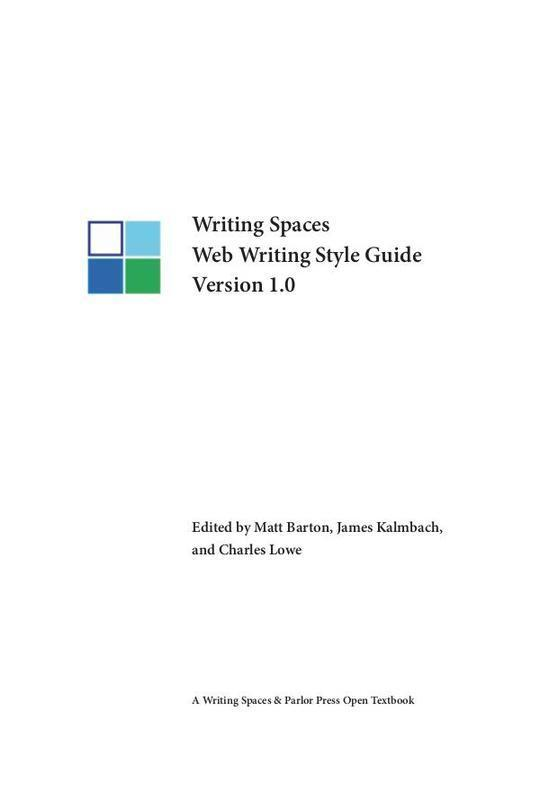 Writing Spaces Web Writing Style Guide Version 1.0
