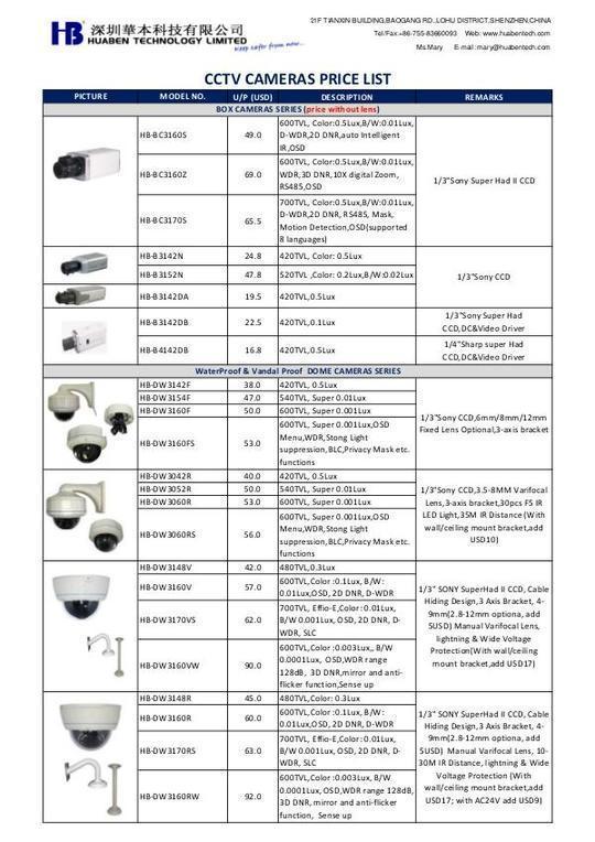 HuaBen_CCTV_Cameras_Price_List_e0712