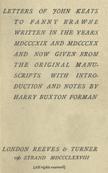 Letters of John Keats to Fanny Brawne