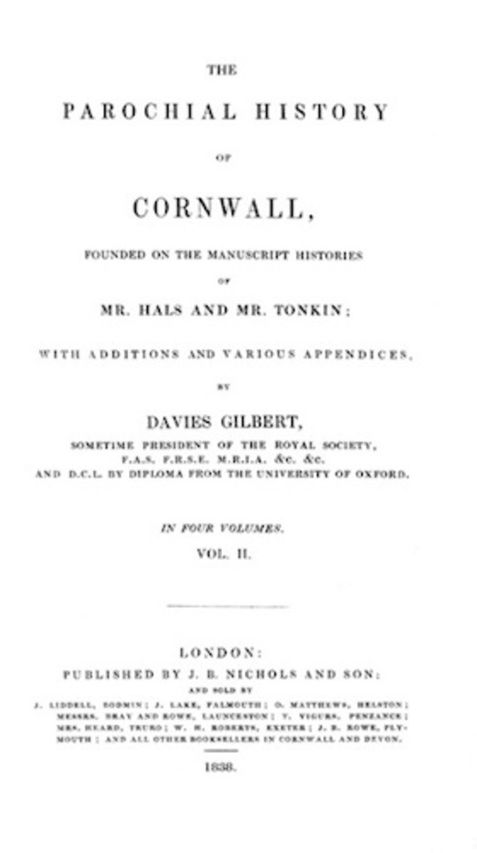 The Parochial History of Cornwall, Volume 2 (of 4)