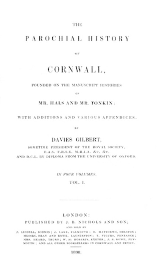 The Parochial History of Cornwall, Volume 1 (of 4)