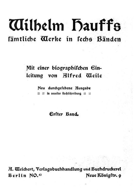 Wilhelm Hauffs sämtliche Werke in sechs Bänden. Bd. 1