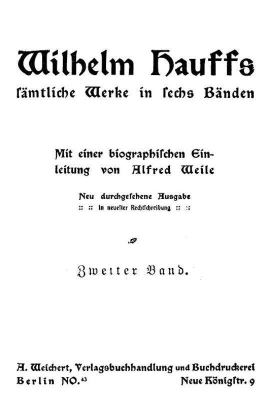 Wilhelm Hauffs sämtliche Werke in sechs Bänden, Zweiter Band
