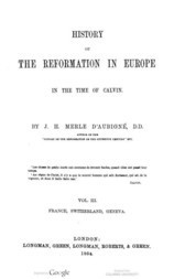 History of the Reformation in Europe in the time of Calvin, Volume 3 (of 8)