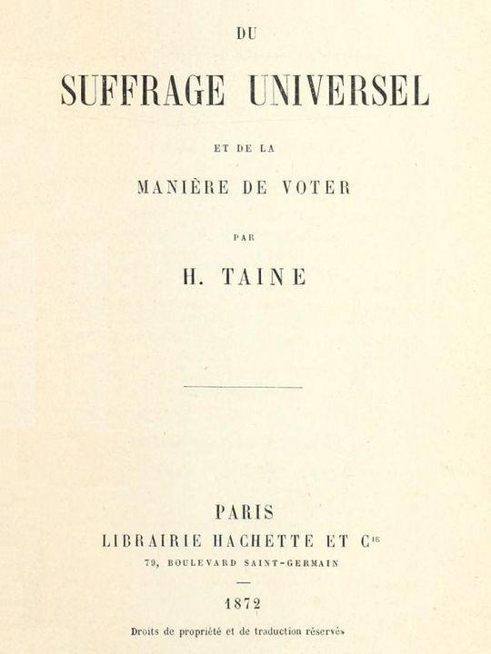 Du suffrage universel et de la manière de voter