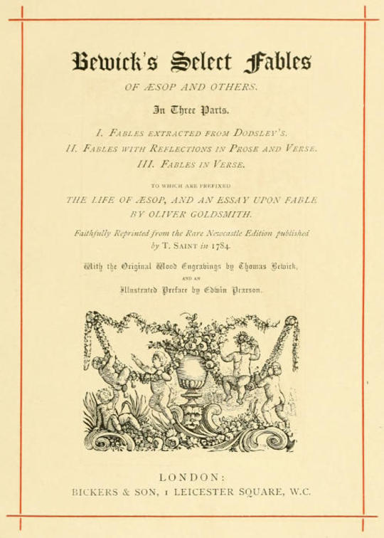 Bewick's Select Fables of Æsop and others.