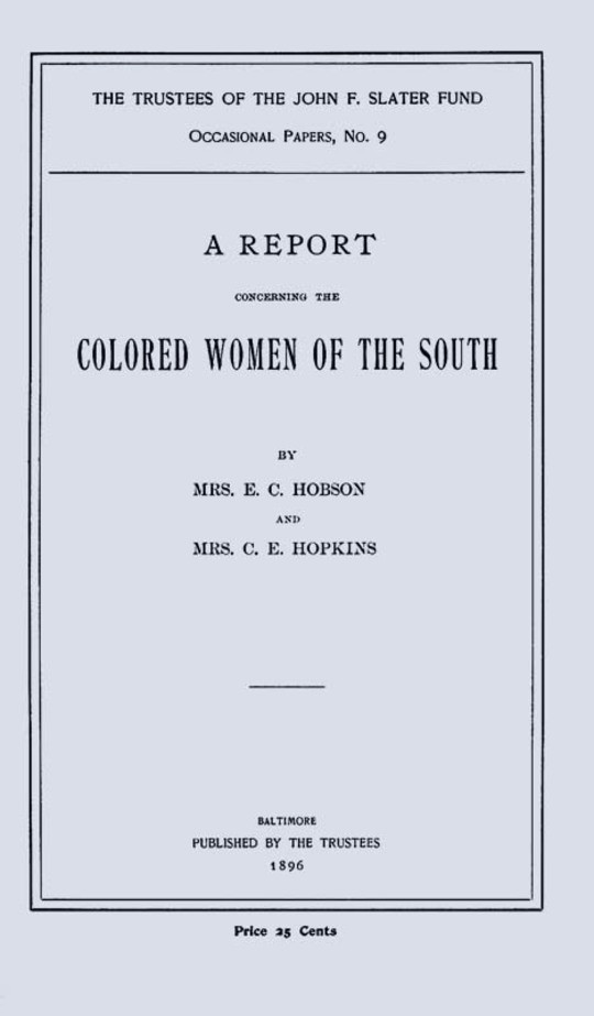 A Report Concerning the Colored Women of the South