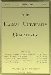 The Kansas University Quarterly, Vol. I, No. 2, October 1892