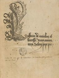 L'Ystoire de Eurialus et Lucresse, vrays amoureux, selon pape Pie