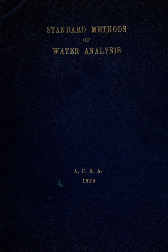 Standard methods for the examination of water and sewage