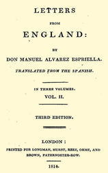 Letters from England by Don Manuel Alvarez Espriella, Volume 2 (of 3) / Translated from the Spanish