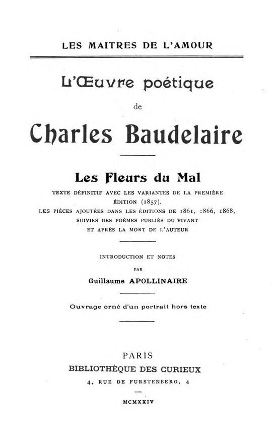 L'Oeuvre Poètique de Charles Baudelaire / Les Fleurs du Mal
