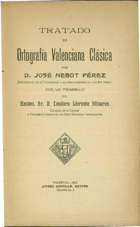 Tratado de Ortografía Valenciana Clásica
