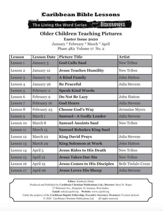 Bible Discoverers - Teaching Pictures April 2020