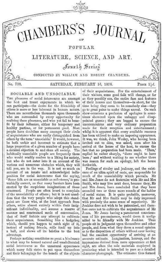 Chambers's Journal of Popular Literature, Science, and Art, No. 738, February 16, 1878