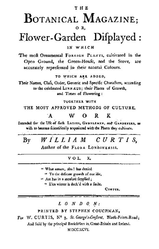 The Botanical Magazine, Vol. 10 / Or, Flower-Garden Displayed